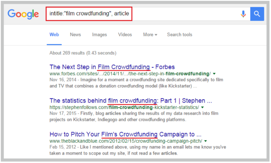 Crowdfunding Tips: using Google Search for finding relevant journalists