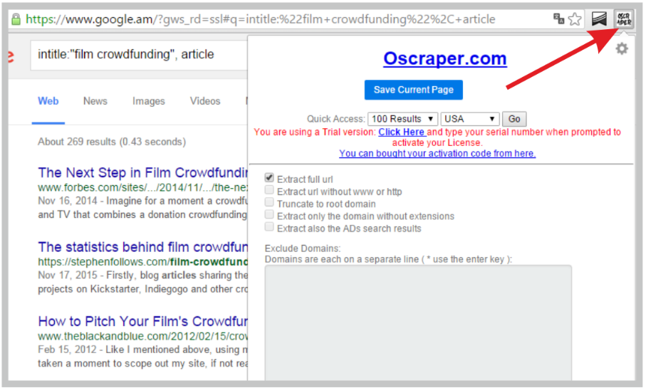 Crowdfunding Tips: Oscraper for scraping search results