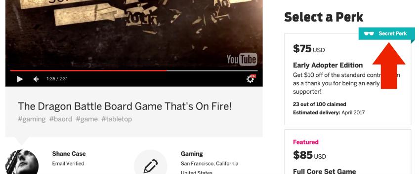 Secret Perk Indiegogo