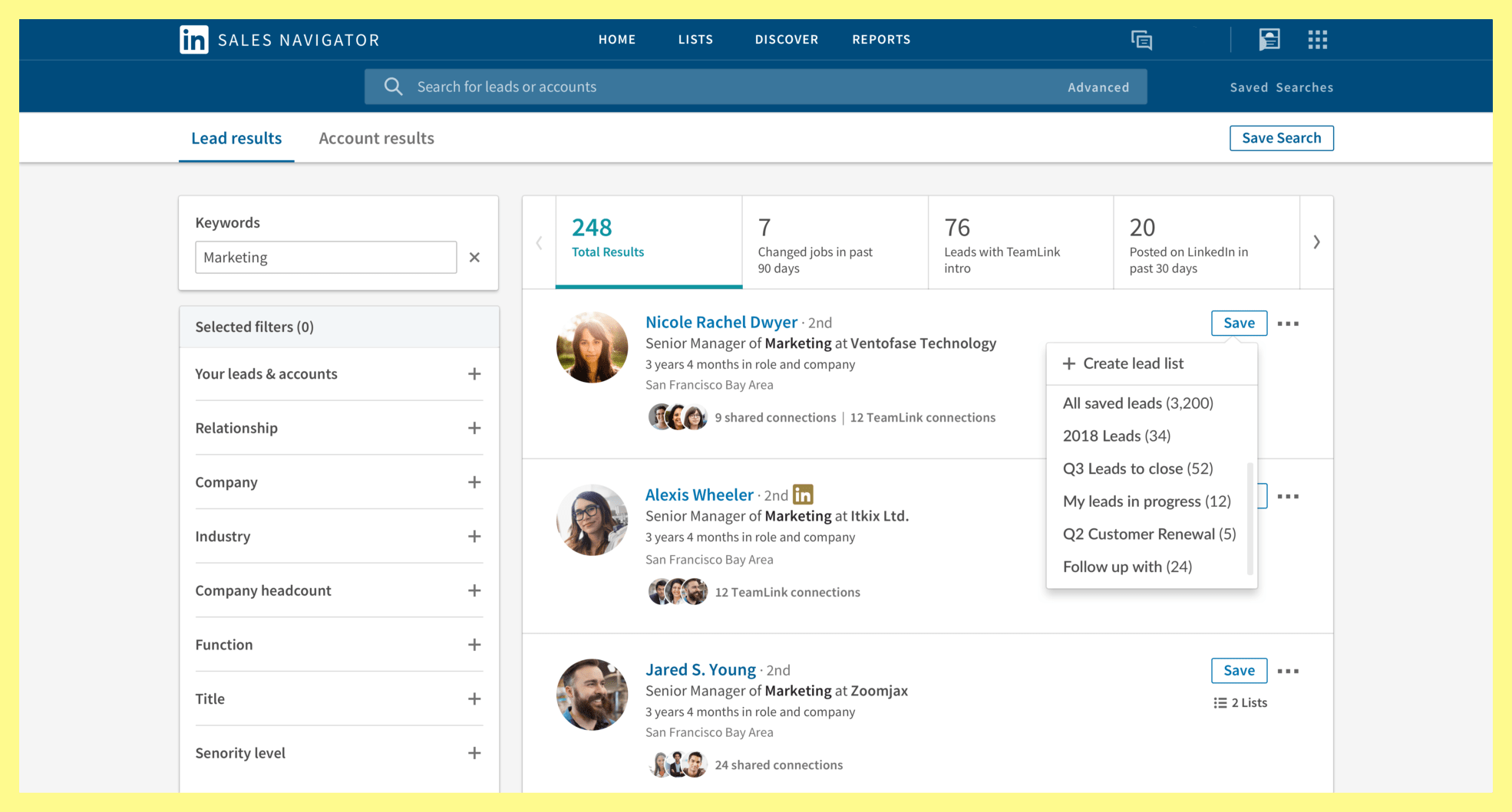 LinkedIn Sales Navigator tool for pr