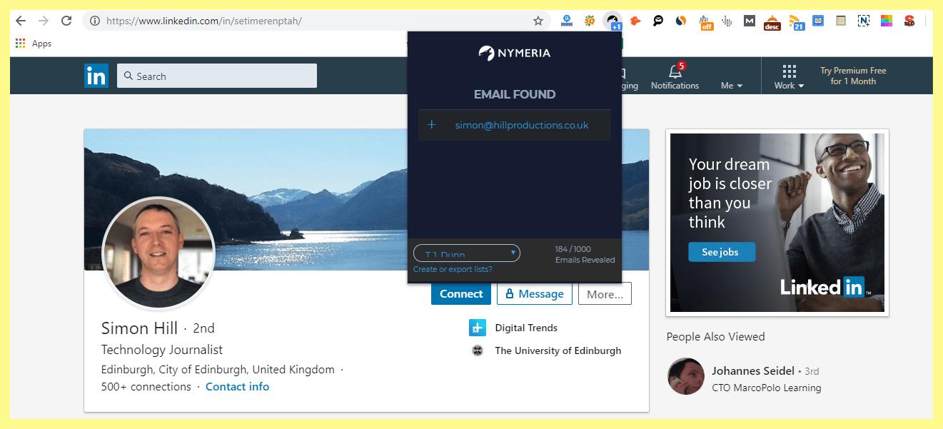Nymeria email hunter pr tool