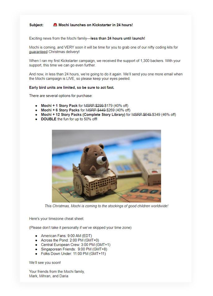 kickstarter campaign email marketing tips