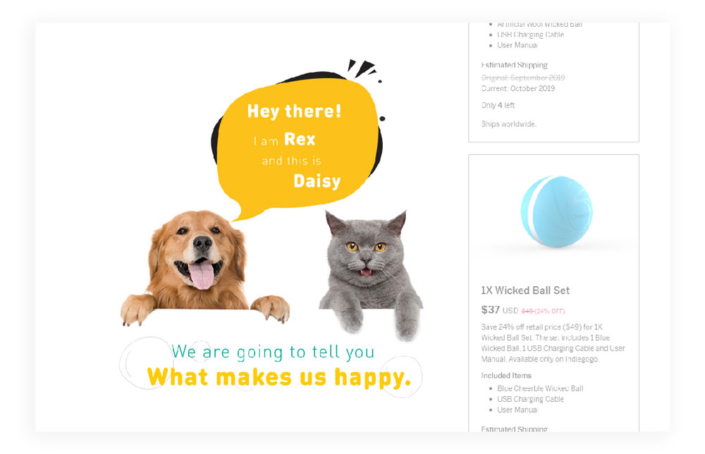 kickstarter page layout