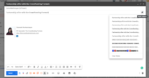 Formatted Subject Lines Extension