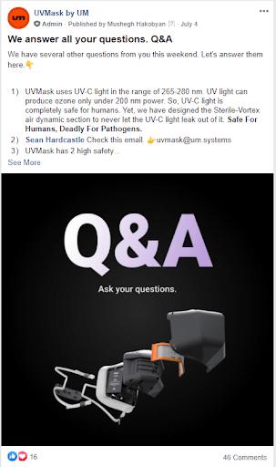 Facebook group marketing UV mask