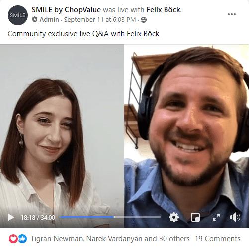Facebook group marketing Smile