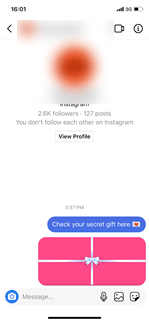 Instagram has a new feature which allows you to send a decorated secret message that they can open.
