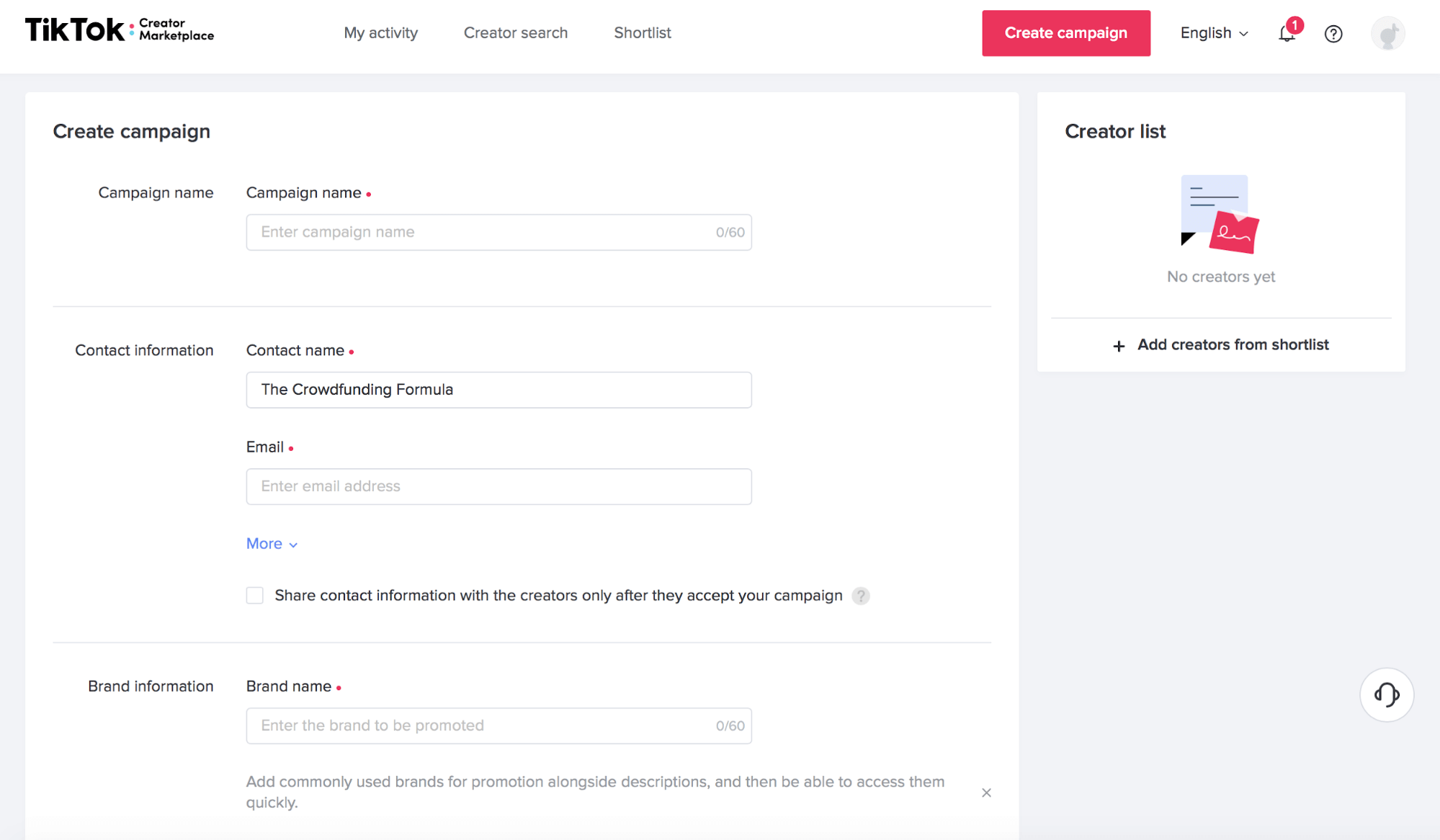 TikTok Marketplace Research and Outreach, Campaign Creation